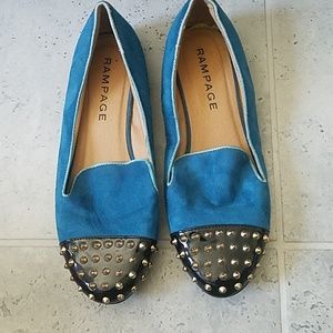 Rampage blue and black studded flats